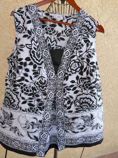 JM Collection 16W Tank Top Floral Print Black White Slinky Shiny Polyester NWOT #JMCollection #Tank #Career