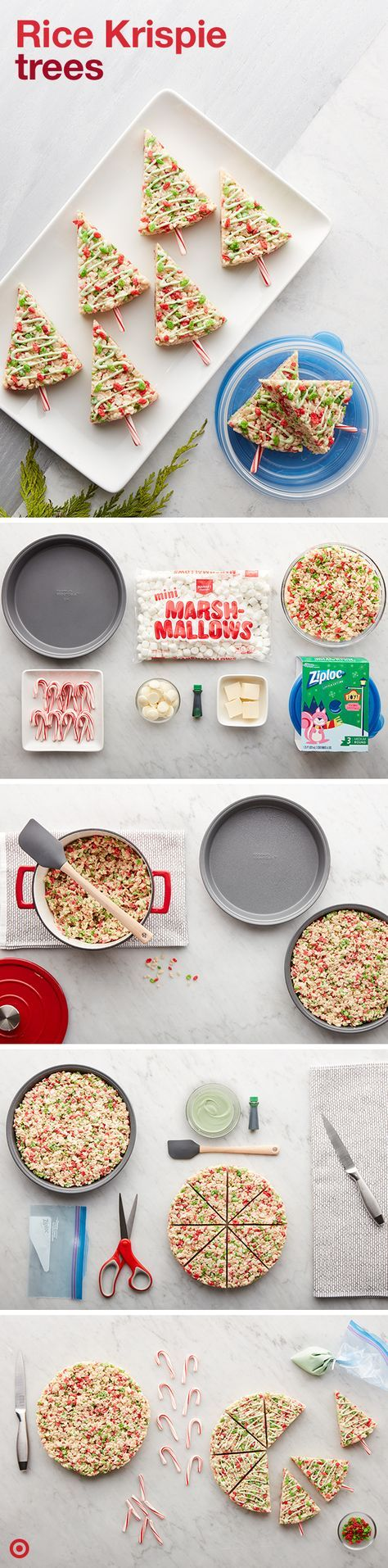 Easy as one, two, tree. Put a festive twist on everyone's favorite Rice Krispie and marshmallow bar. Trim your Tree Treats with melted chocolate, a drop (or two) of food coloring, candy canes, pretzel sticks and of course—sprinkles. Drizzle to your heart's desire using a Ziploc brand bag, and serve in wedges. Last step? Gather your loved ones and savor every crispy bite.