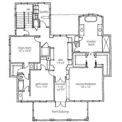 Second floor Jack and jill house plans