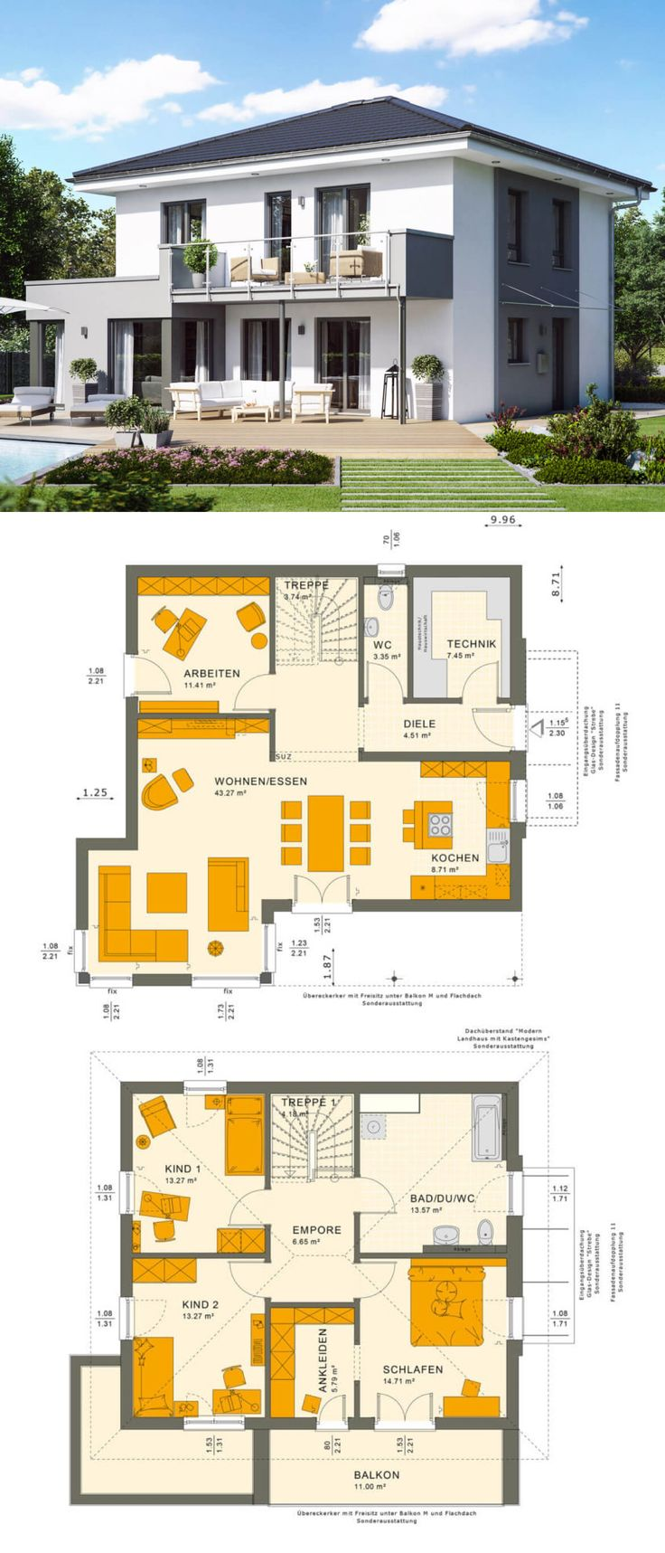 Stadtvilla modern Neubau mit Walmdach Architektur,…