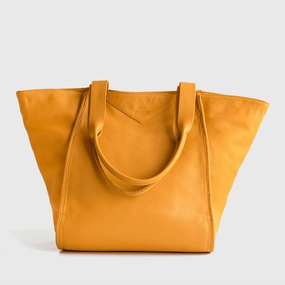 056eaf9fd0 Leather tote handbag women, Mustard yellow soft distressed large leather  tote, Laptop tote purse, Mu