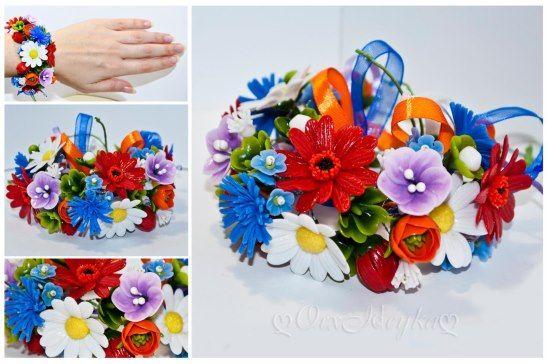 полимерная глина, ручная работа, купить, заказать, украшения, браслет, гербера, ромашка, красный, белый, синий, оранжевый, цветок,  orxideyka, орхидейка