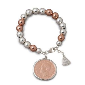 Two Tone Personalised Coin Bracelet