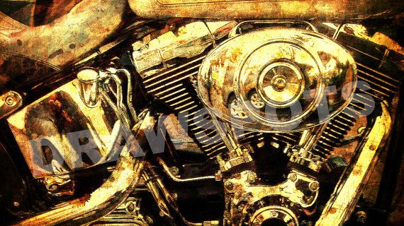 Harley Davidson Engine GOLDEN PRINT  Digitally printed on Archival Matte Paper, professional quality. 14x7.80 to 60x33.75in The watermark not appear in prints.  NOTE: Colors may vary from screen to screen. This price is for Registered shipment! Unframed  Prints will be shipped Rolled In A Cardboard Tube. I send my prints off to their new home within 3-5 days of payment. I ship my international orders by air after Im notified of your payment, and taking between 5 to 15days to arrive.  If you…