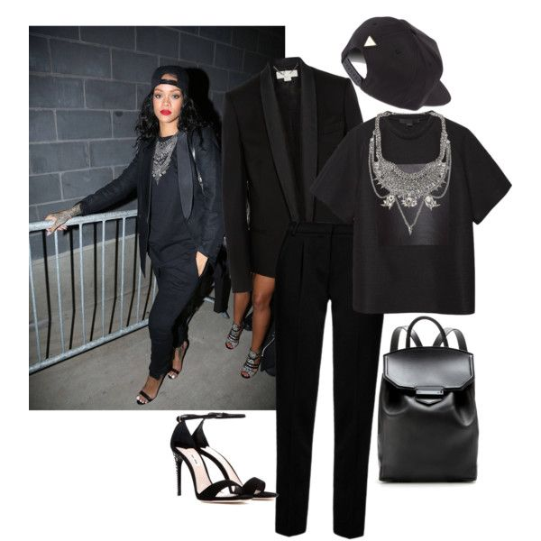 rihanna in all black by kadiskreations on Polyvore featuring Alexander Wang, STELLA McCARTNEY, Emporio Armani, Miu Miu, XEVANA and Joyrich