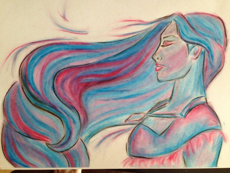 """Pocahontas"" Artist: Paige Mackay 2014. Pastels on paper."