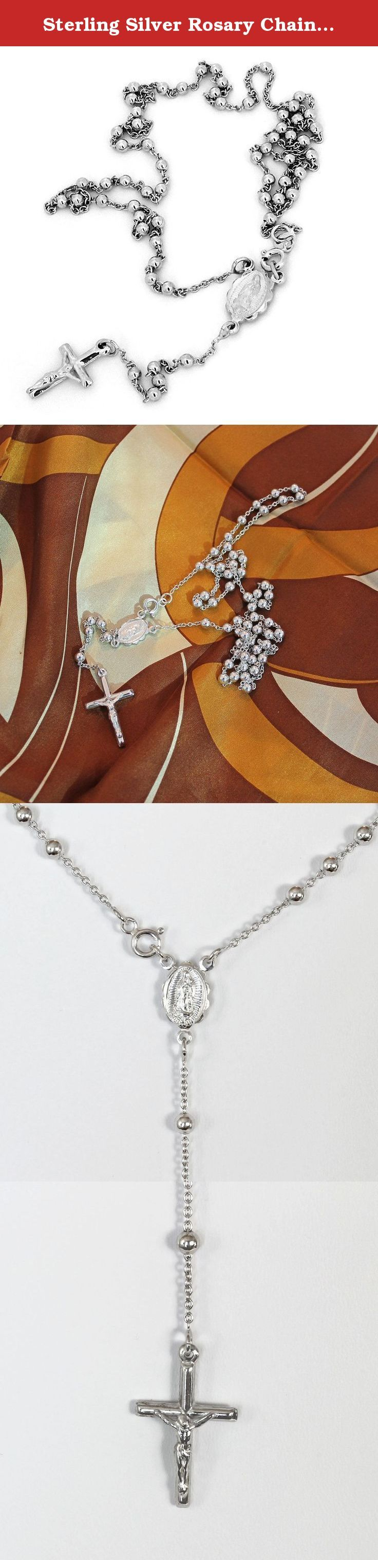"Sterling Silver Rosary Chain, Cross and St.Maria 20"" Mens/Ladies Necklace - 5mm. This necklace is made of solid sterling silver with anti-tarnish rhodium plating."