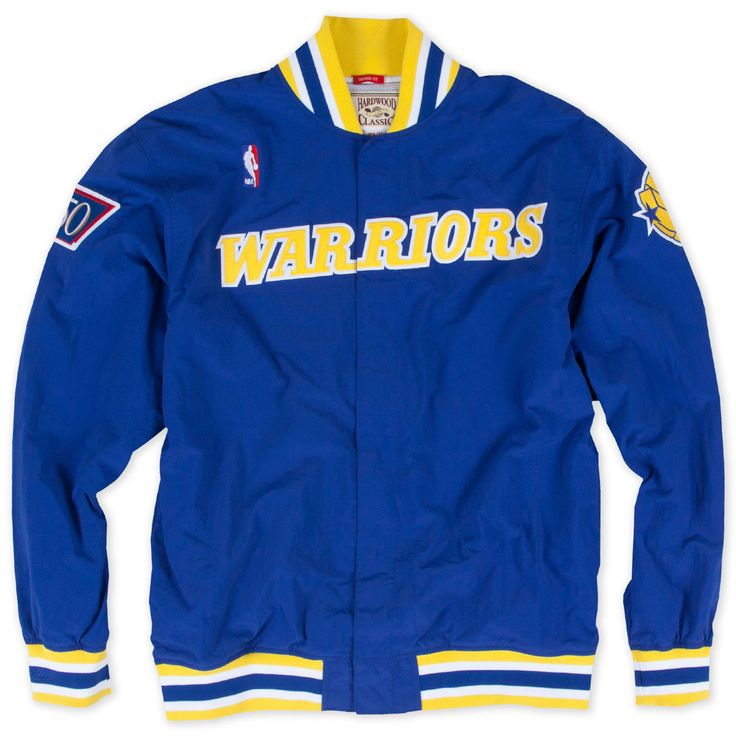 <div>The Mitchell & Ness Authentic '96-'97 Throwback Warm Up Jacket features team identity wordmark across the chest in two-color tackle twill applique, and 1996-1997 team fonts and colors.  The Warriors 'state outline' basketball logo is embroidered onto the left arm and authentic 'NBA 50' logo, celebrating the 50th anniversary of the Association, is stitched onto the right arm.</div> <div> </div> <div>FEATURES</div&...
