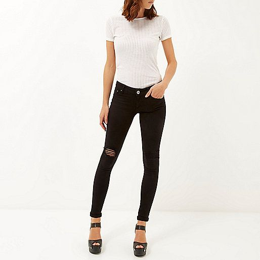 Black ripped Cara superskinny reform jeans - skinny jeans - jeans - women
