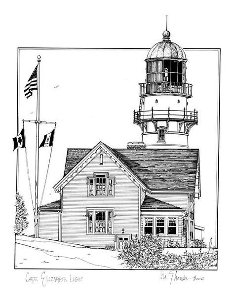 Cape Elizabeth Lighthouse Line Art In 2018 Pinterest