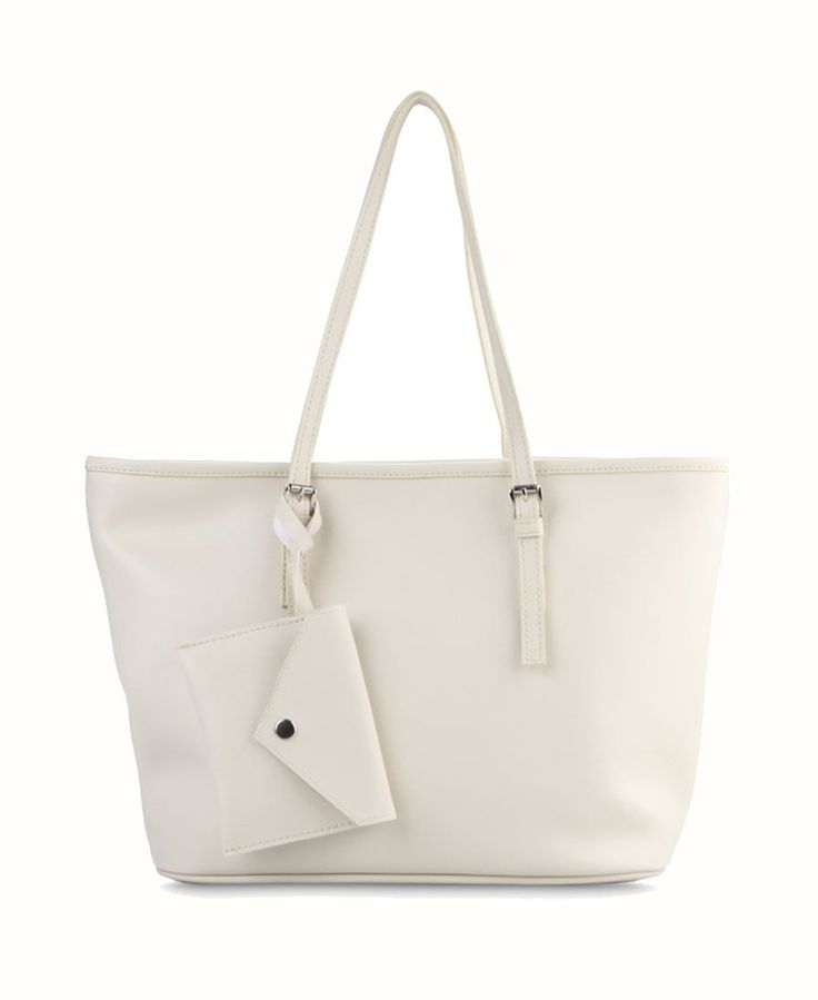 Michelle Tote Bag by Primsore. Synthetic leather with broken white color, one main compartment, inner pocket, zipper, small pouch hanging on the handle detail, handle drop, this broken white bag look so feminine and simple but stylish. http://www.zocko.com/z/JFbcI