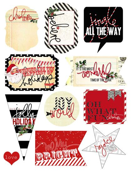 ALL of #heidiswapp Christmas FREEBIES on 1 print out. LOVE THESE! #makeprettystuff #heidichristmas   HS_allofthemWEB