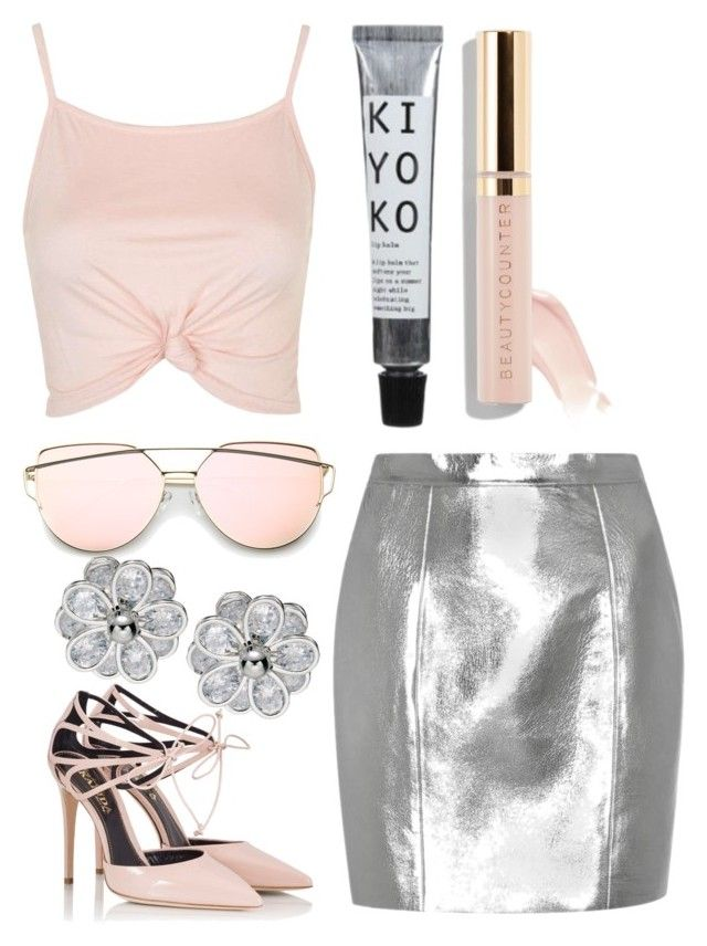 Pink & Silver by aquabanana on Polyvore featuring polyvore, fashion, style, Topshop, Yves Saint Laurent, Fratelli Karida, Beautycounter and clothing