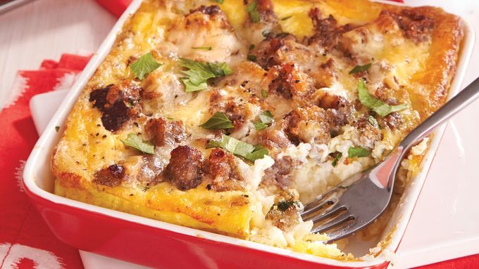 Stone-ground grits get a sophisticated upgrade when baked with eggs, pork sausage and Gouda cheese.