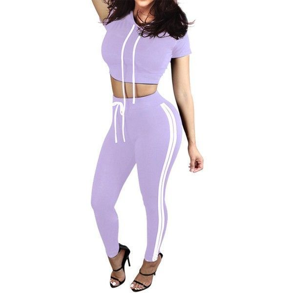 Pink Queen Women Casual Sport Bodycon Crop Top Long Skinny Pant Set... ($18) ❤ liked on Polyvore featuring activewear, activewear pants, pink sportswear, sports activewear, pink tracksuit, sports tracksuits and track suit #yogatracksuit