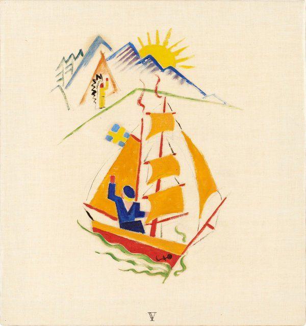 Gösta Adrian-Nilsson   V - Lille Olles Resa, 1920   Oil on canvas 29 x 27 cm https://www.bukowskis.com/auctions/557/138-gosta-adrian-nilsson-lille-olles-resa?locale=en&page=7