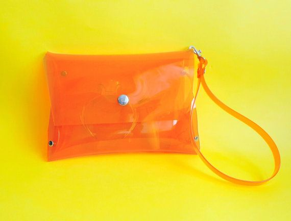 Orange wristlet  bag clear stadium bag orange by YPSILONBAGS