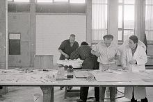 Max Bill in the architect's studio of the School