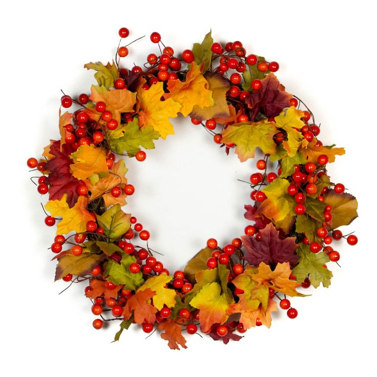 Bella Marie's Fall Orange Berry Wreath is created using artificial orange berries and silk leaves in autumn hues. This beautiful piece can also be used as a table or buffet centerpiece. Simply place a