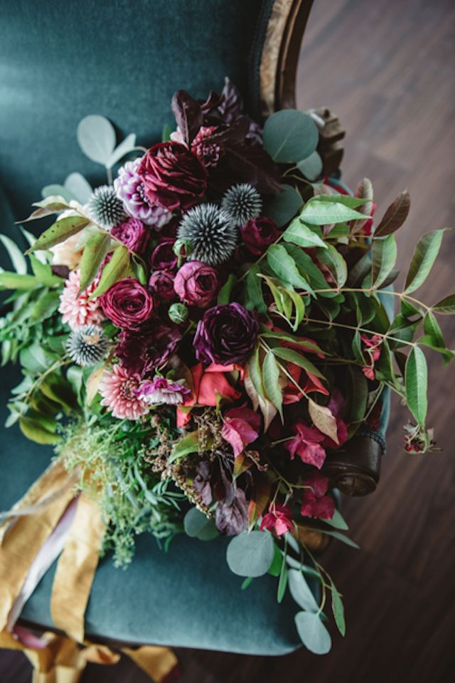 Vintage bouquet with red and thistle | Cari Courtright Photography | see more on: http://burnettsboards.com/2015/12/vintage-glam-bridal-boudoir/