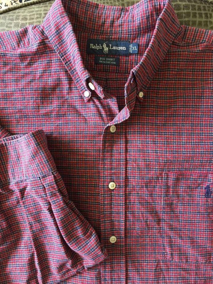 Men RALPH LAUREN Big Shirt Red Blue Plaid X-Large Shirt #RalphLauren #ButtonFront