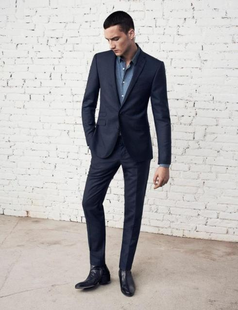 Dark navy suit for groom.  Add plum purple shirt or tie.