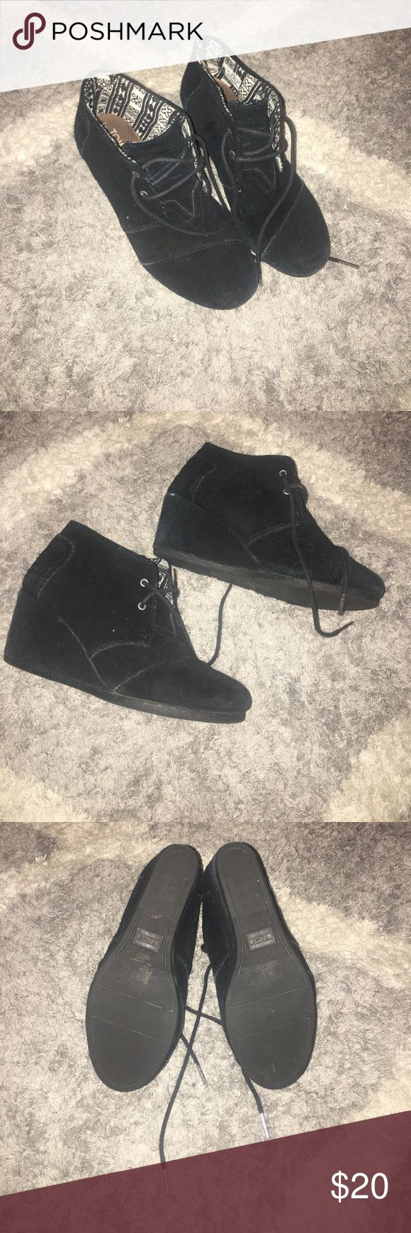 Toms Wedge Booties Size 8 Toms Wedge Booties Size 8 barely worn. Toms Shoes Ankle Boots & Booties