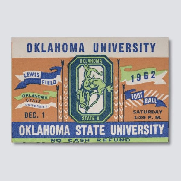 This Game Was Played December 1st 1962 At Lewis Field Between The Oklahoma Sooners And Oklahoma Oklahoma State Football Game Tickets College Football Tickets