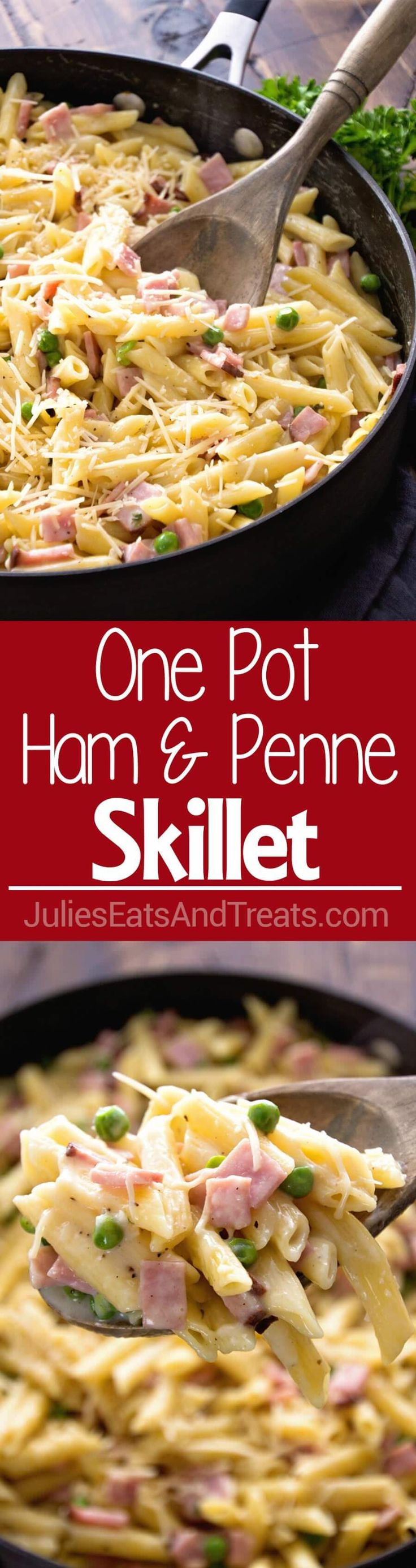 One Pot Ham & Penne Skillet Recipe ~ Delicious Pasta Perfect for a Quick Dinner! Loaded with Ham, Penne and Peas!  via @julieseats