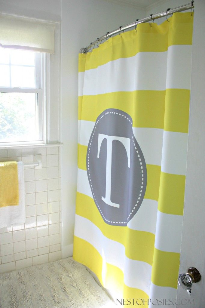 An amazing Kids' Bathroom Remodel!  Yellow and White Stripe Shower Curtain with monogram
