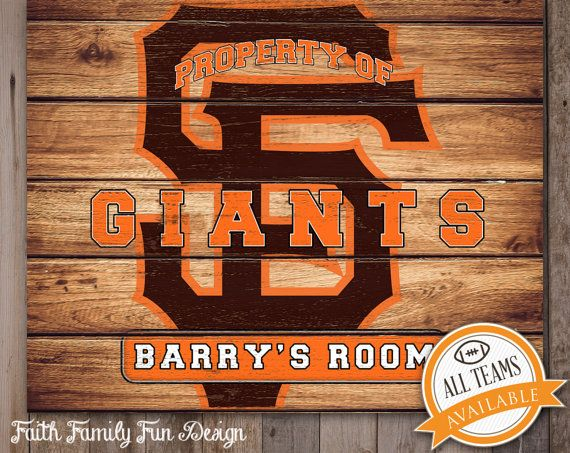 MLB San Francisco Giants Team Sign Printable Personalized Man Cave Teen Room