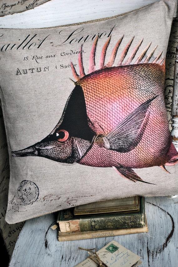 Tropical Fish Cotton and Burlap Pillow by JolieMarche