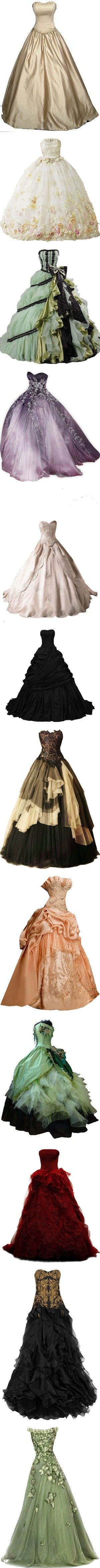 Victorian Gown 2.0 by kerstinxx on Polyvore featuring dresses, gowns, vestidos, long dresses, long brown dress, clip dress, brown dress, wedding dresses, long green evening dress and green ball gown
