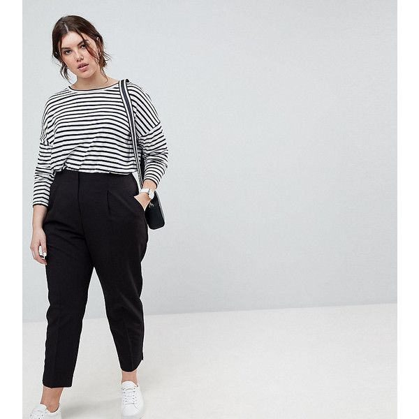 ASOS CURVE Mix & Match Highwaist Cigarette Trousers (155 ILS) ❤ liked on Polyvore featuring pants, capris, black, plus size, womens plus size pants, womens plus pants, high rise pants, high waisted cigarette trousers and zipper pants