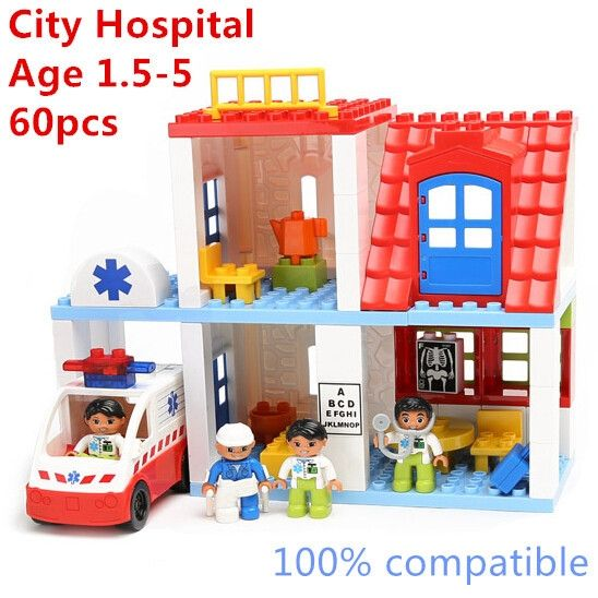 48.80$  Buy here  - 59pcs Big Building Blocks City Construction Luxury Set Compatible with Legoe Duplo Quality ABS Baby Toys Gift Educational Toys