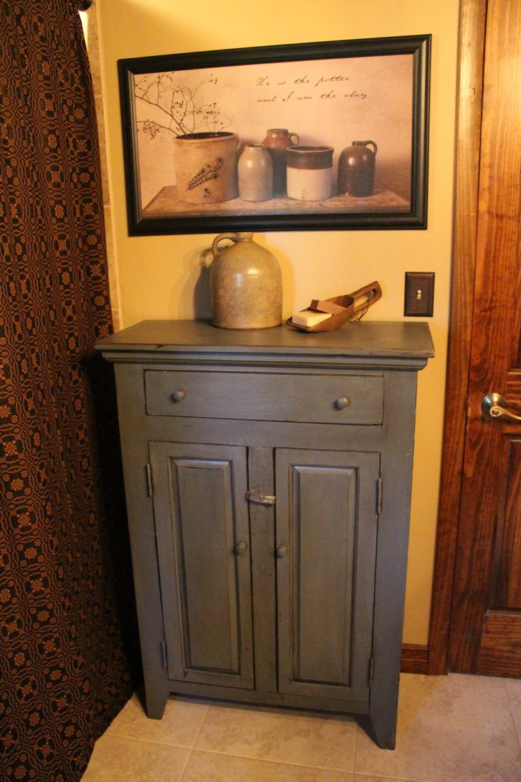 Primitive bathrooms - Primitive Decor Bathroom Little Blue Cabinet Billy Jacobs Jug Treenware Goatsmilk