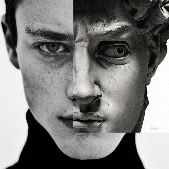 """""""Retour vers le...passé"""" OU """" Le concept de la beauté masculine n'a pas changé !"""" / A partir du dessin au crayon par Linda Huber David de la tête du David de Michel-Ange, photo-montage."""