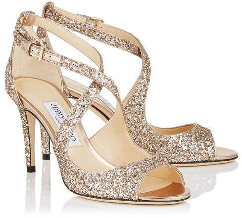 #jimmychoo Coarse Gold Glitter Heels #partyheels #bridalheels #ad