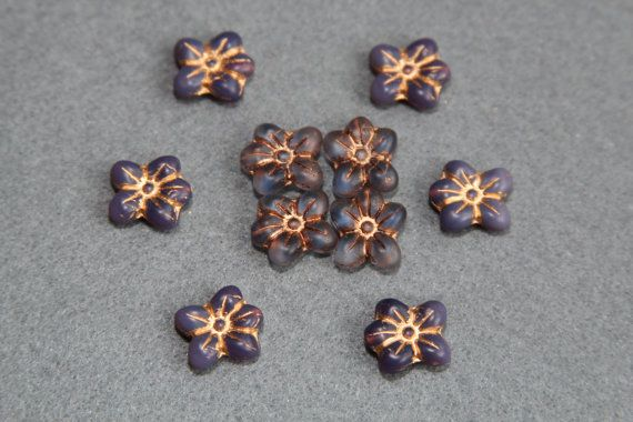 Deep Blue 13x14mm Pressed Flower Bead Mix Set by BohemianSupplyCo