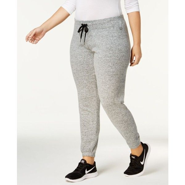Calvin Klein Performance Plus Size Jogger Pants ($69) ❤ liked on Polyvore featuring plus size women's fashion, plus size clothing, plus size pants, stone, calvin klein pants, jogging trousers, white trousers, calvin klein and white jogger pants