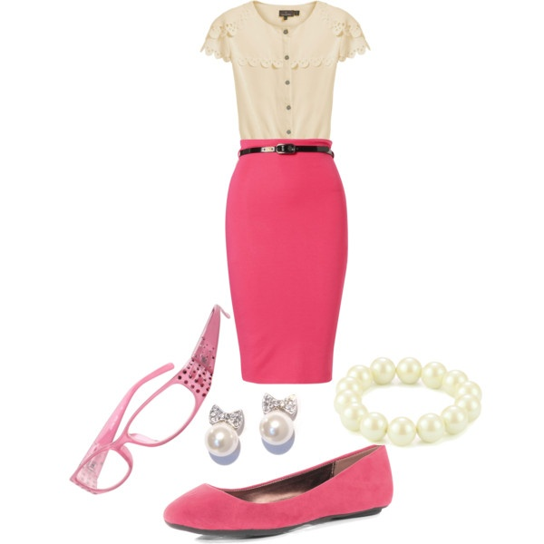 Pink pencil skirt with pink and winter white