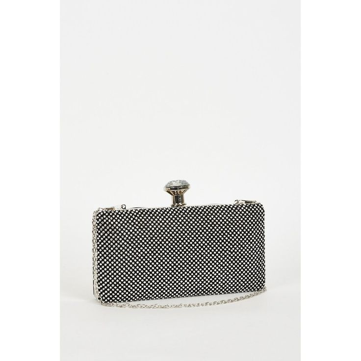 Rhinestone Front Black Clutch Bag with Detachable Chain Strap