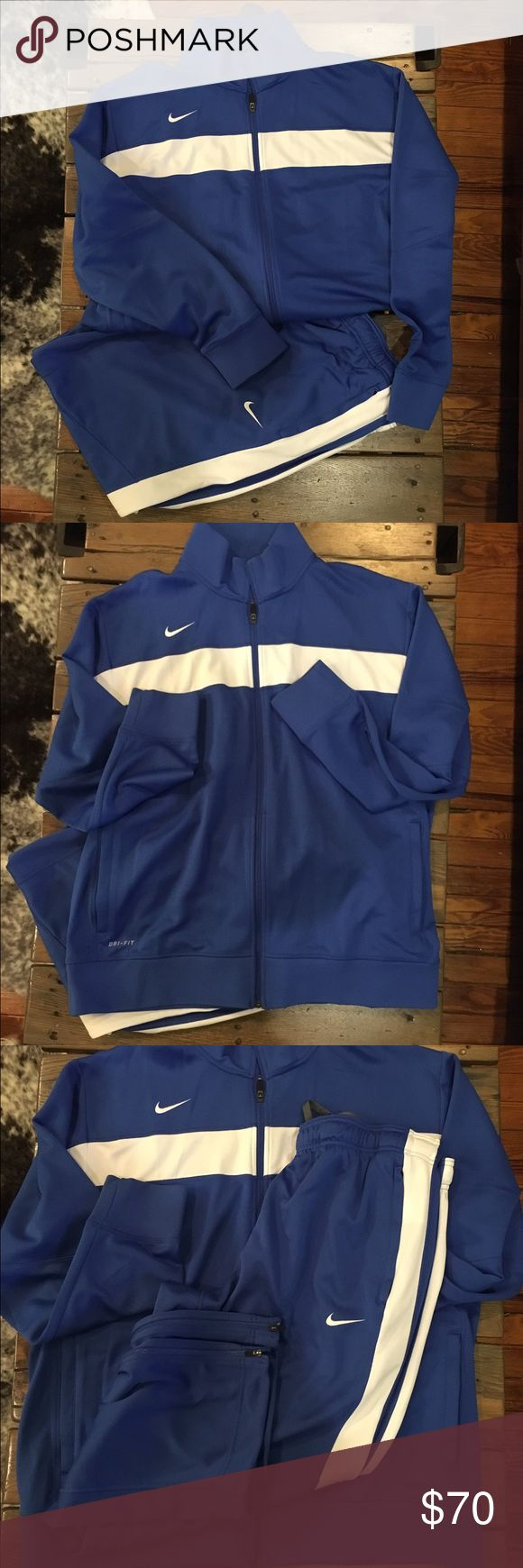 Blue & White Nike sweatsuit Dri-Fit Nike sweat suit. Excellent like new condition worn once. Hubby lost weight and no longer can wear.  This listing is for both pieces. Nike Other