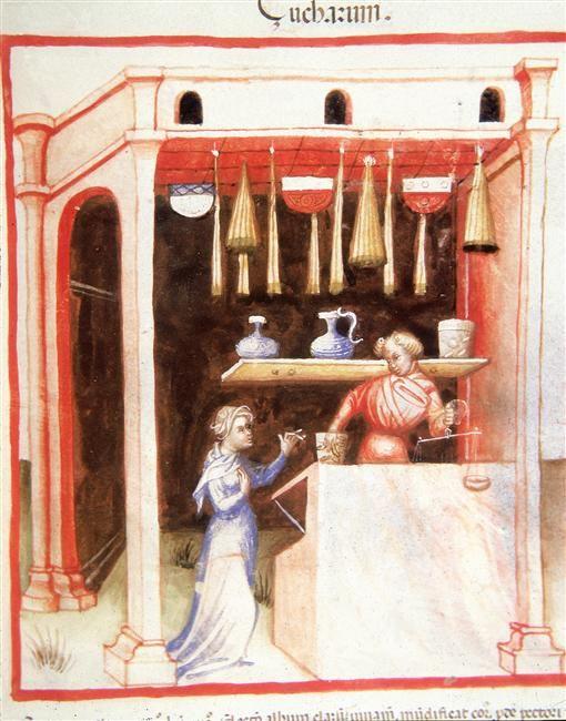 A sugar-merchant, Tacuinum Sanitatis (ÖNB Codex Vindobonensis, series nova 2644), c. 1370-1400