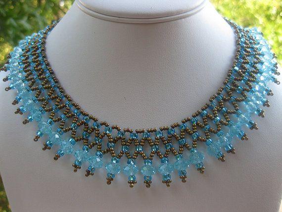 Cleopatra style crystal fringe necklace in Aqua on Etsy, $35.00