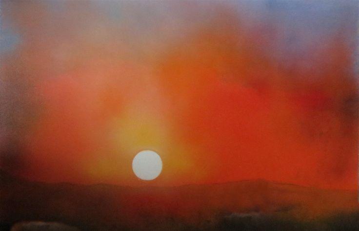 MARKO SAPIOLKO ''SUNSET '' mix technik 100x80 canvas