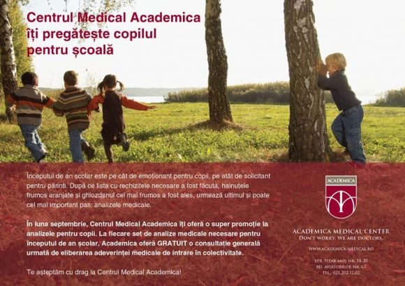 Centrul Medical Academica îţi pregăteşte copilul pentru şcoală | Centrul Medical Academica | Clinică Medicală Particulară - Centrul Medical Academica