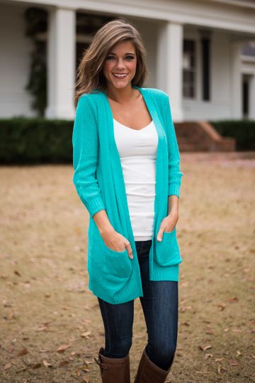 This teal cardigan is a staple item for sure!