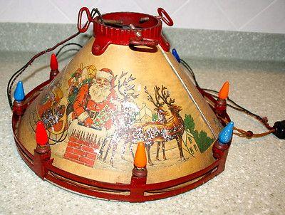 Antique Vintage 1930's Santa w Reindeer Noma Tin Christmas Tree Stand Retro