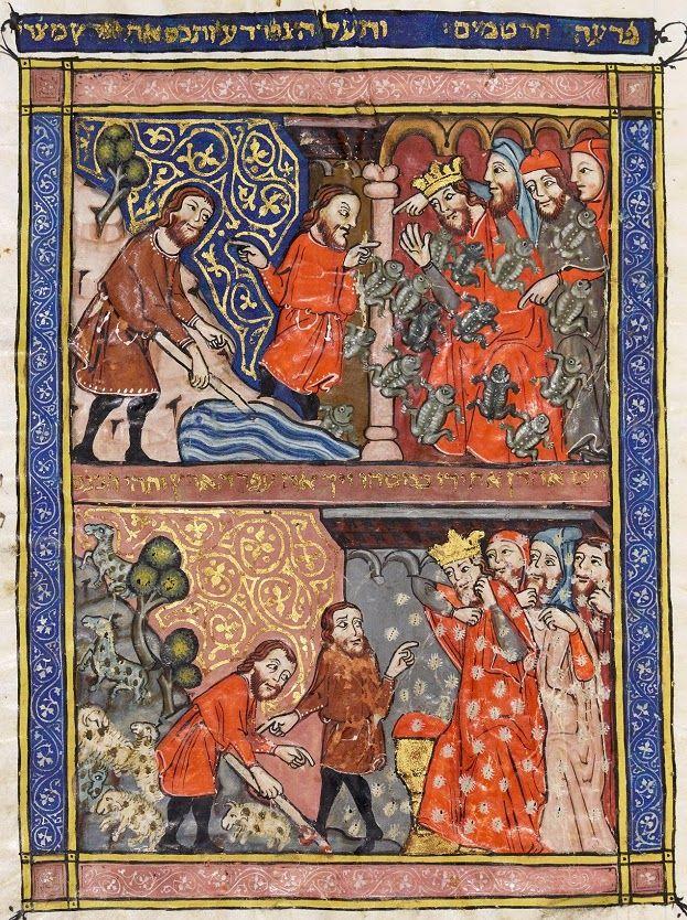 LA HAGGADAH DE BARCELONA - CATALUNYA - Arte judío medieval Desde la llamada de Moisés, al cruce del mar rojo, el drama del...